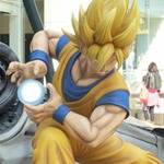Life-Size Goku and Luffy Statues Battle in Japan