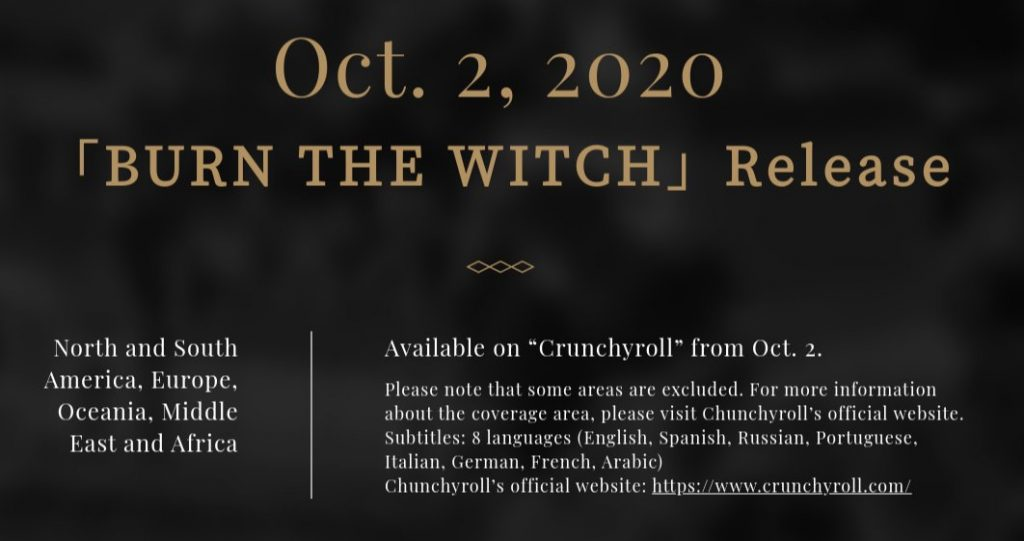 Burn the Witch streaming October 2, 2020