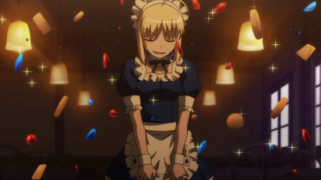 Saber takes on a job at a maid cafe