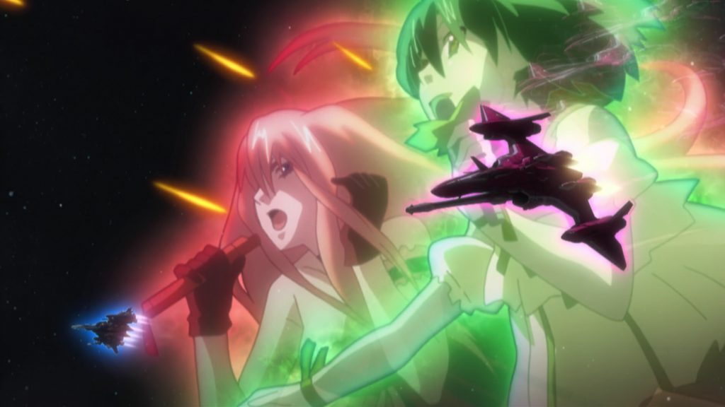 Ranka and Sheryl attack in Macross Frontier