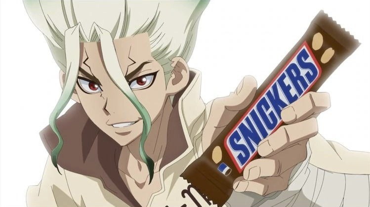 Dr. STONE's Senku Helps Japanese Comedian in Snickers Collaboration