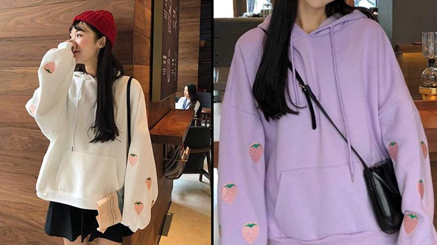 strawberries patch kawaii hoodie