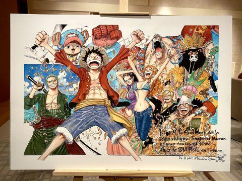 Eiichiro Oda Gifts One Piece Art to French President Emmanuel Macron