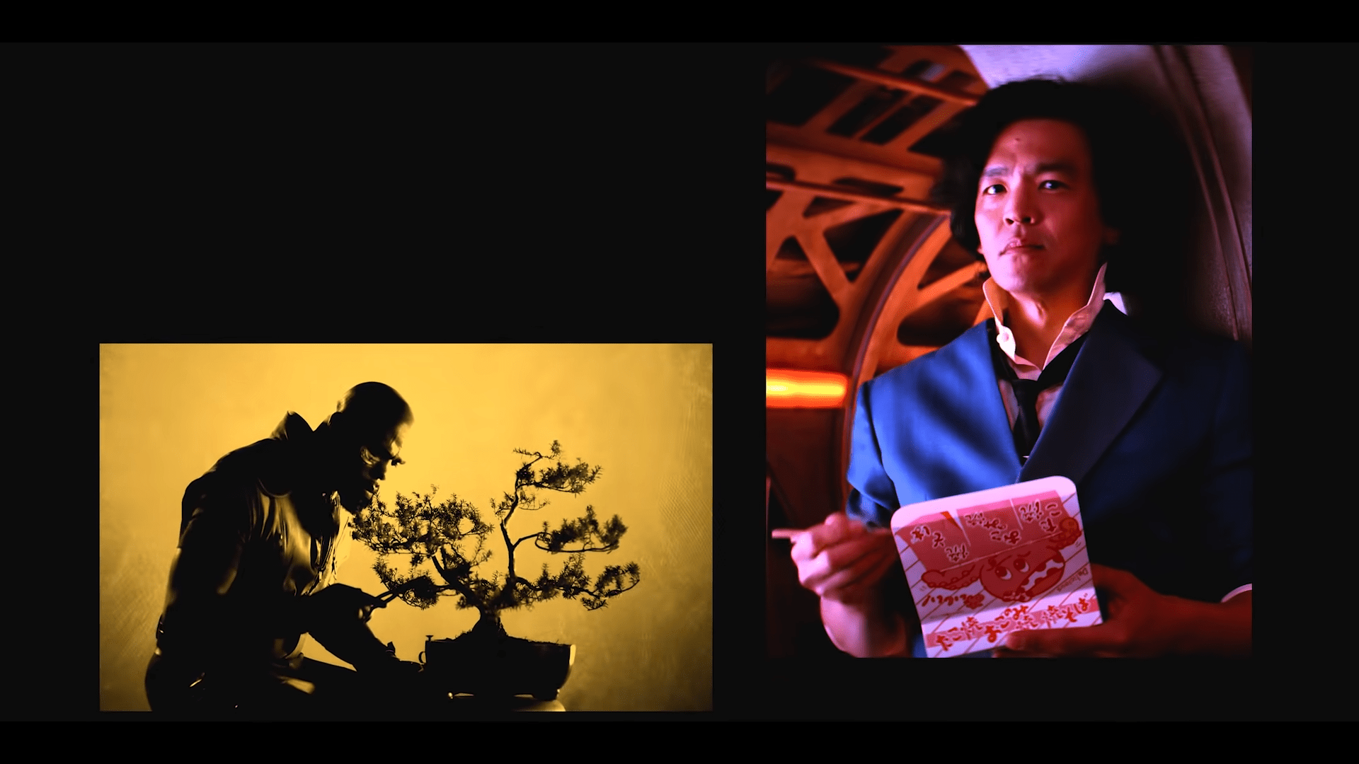 In the new Cowboy Bebop opening, Jet prunes his bonsai and Spike finally gets to eat